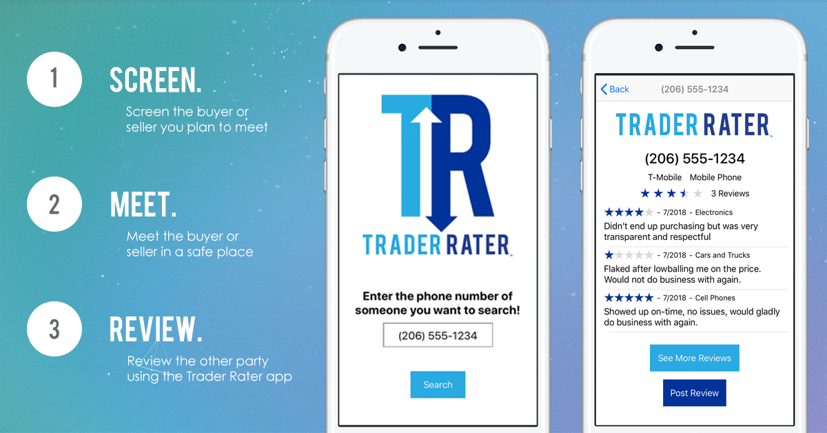 We're Trader Rater! Our app allows users to screen and