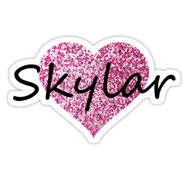 Skylar | Sticker | Pink heart, Pink glitter, Glitter hearts