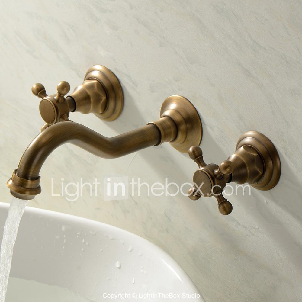 Bathroom Sink Faucet Wall Mount Widespread Antique Brass Wall