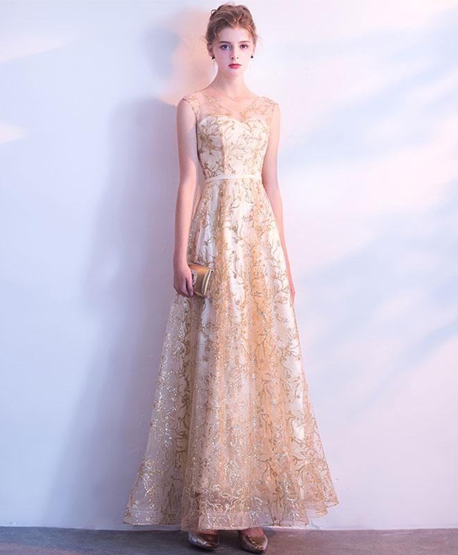 Elegant gold lace tulle long prom dess 1b18fe346