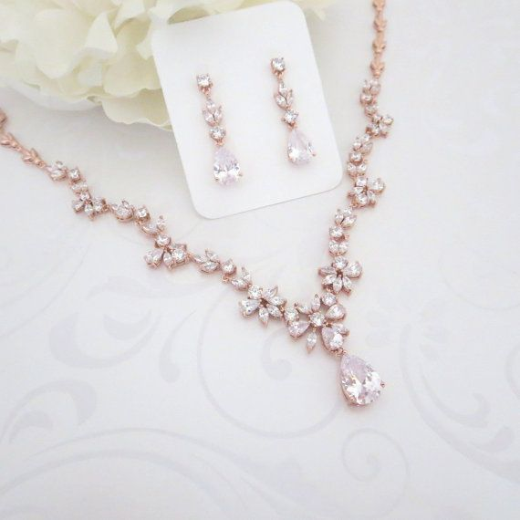 Rose Gold necklace Rose Gold Bridal jewelry set Wedding jewelry