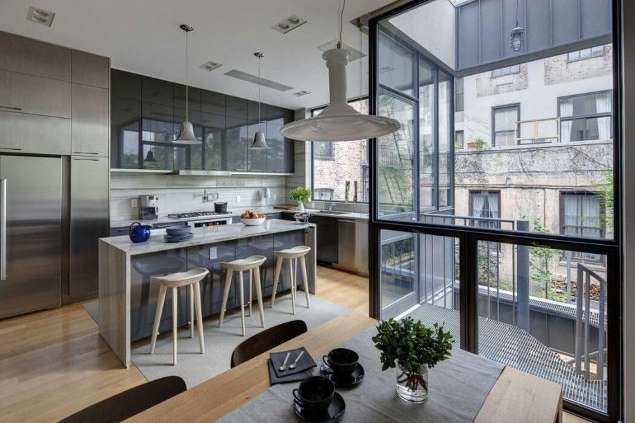 Interior Design Portfolio Of Smart Dg Kitchen Design With Bar Table And Wooden Chairs Big Wdow An Modern Townhouse Interior Townhouse Interior Modern Townhouse