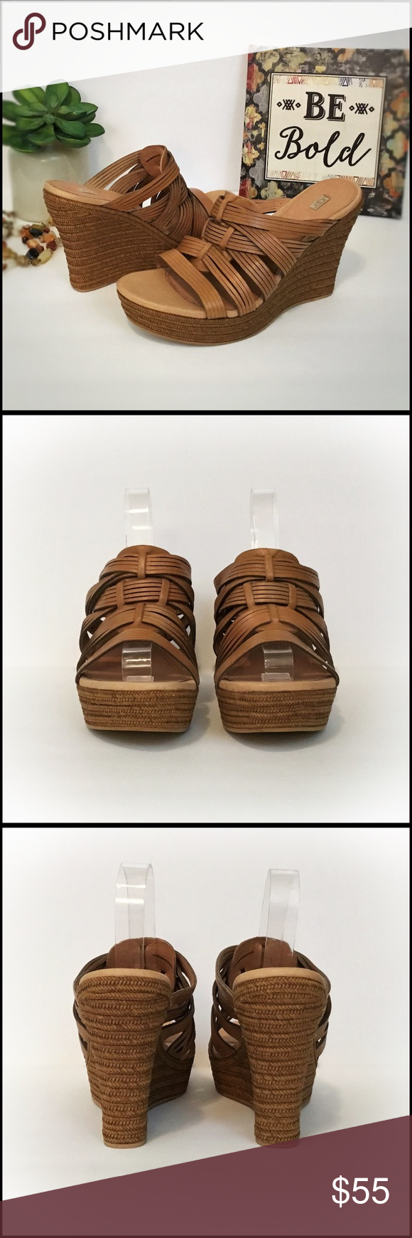 UGG Melinda Leather Wedge Sandal NWOB Ugg Melinda wedge sandal in suntan leather. Features hand woven burnished upper, breathable leather lining and a Plush Poron* foam cushioned footbed.. The jute wrapped midsole sits atop a durable leather-like outsole. Heel height is 4.25 with a 1.5 platform.  (Currently sold on Amazon for 82.99) Imported.  Size 10 UGG Shoes Wedges #shoewedges