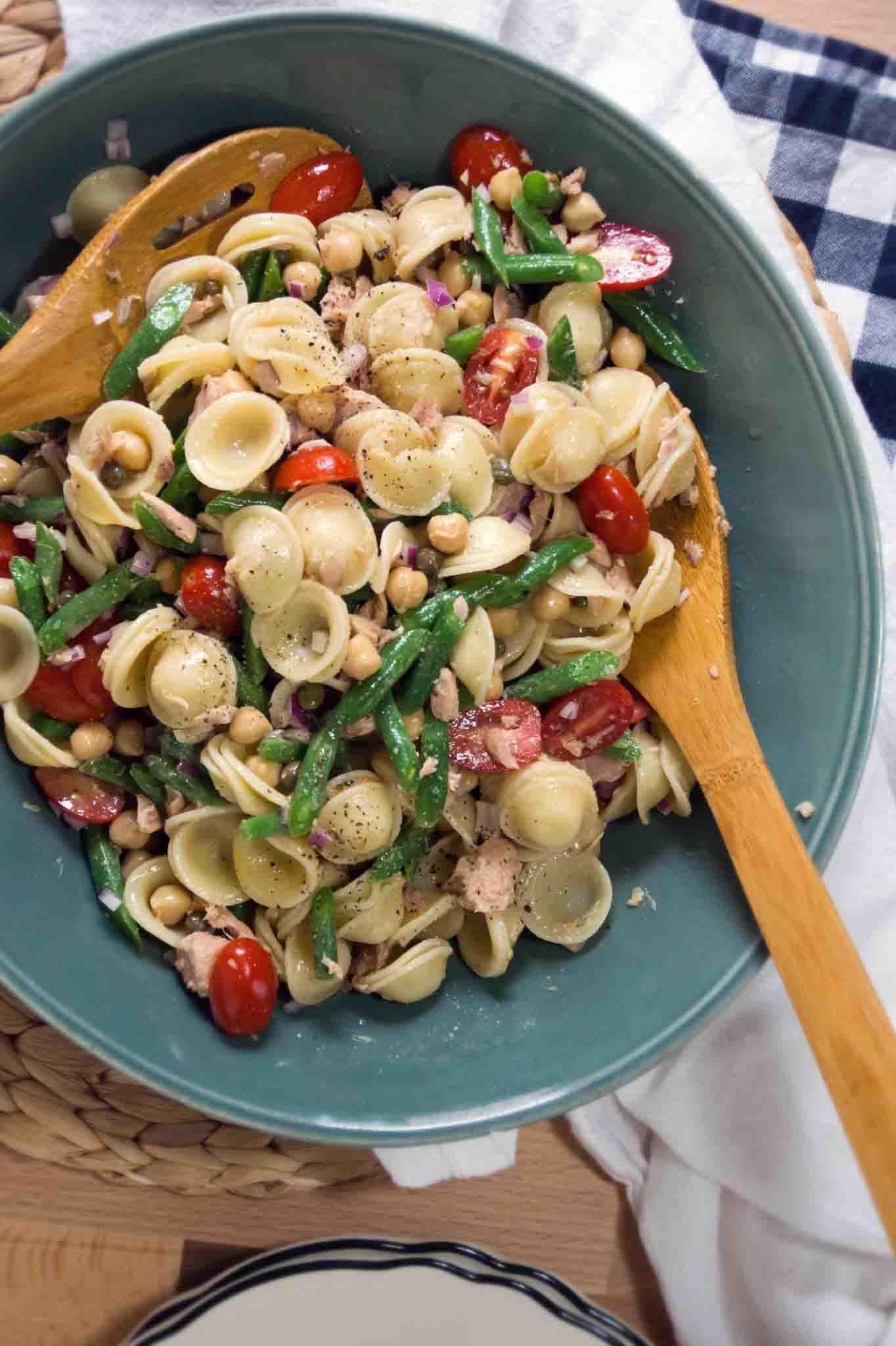 Chickpea tuna caper orecchiette pasta salad recipe for Tuna fish pasta salad