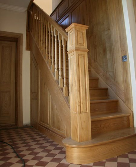 Beautiful Interior Staircase Ideas And Newel Post Designs: Oak Straight Stair With Wooden Panelling And Square Newel