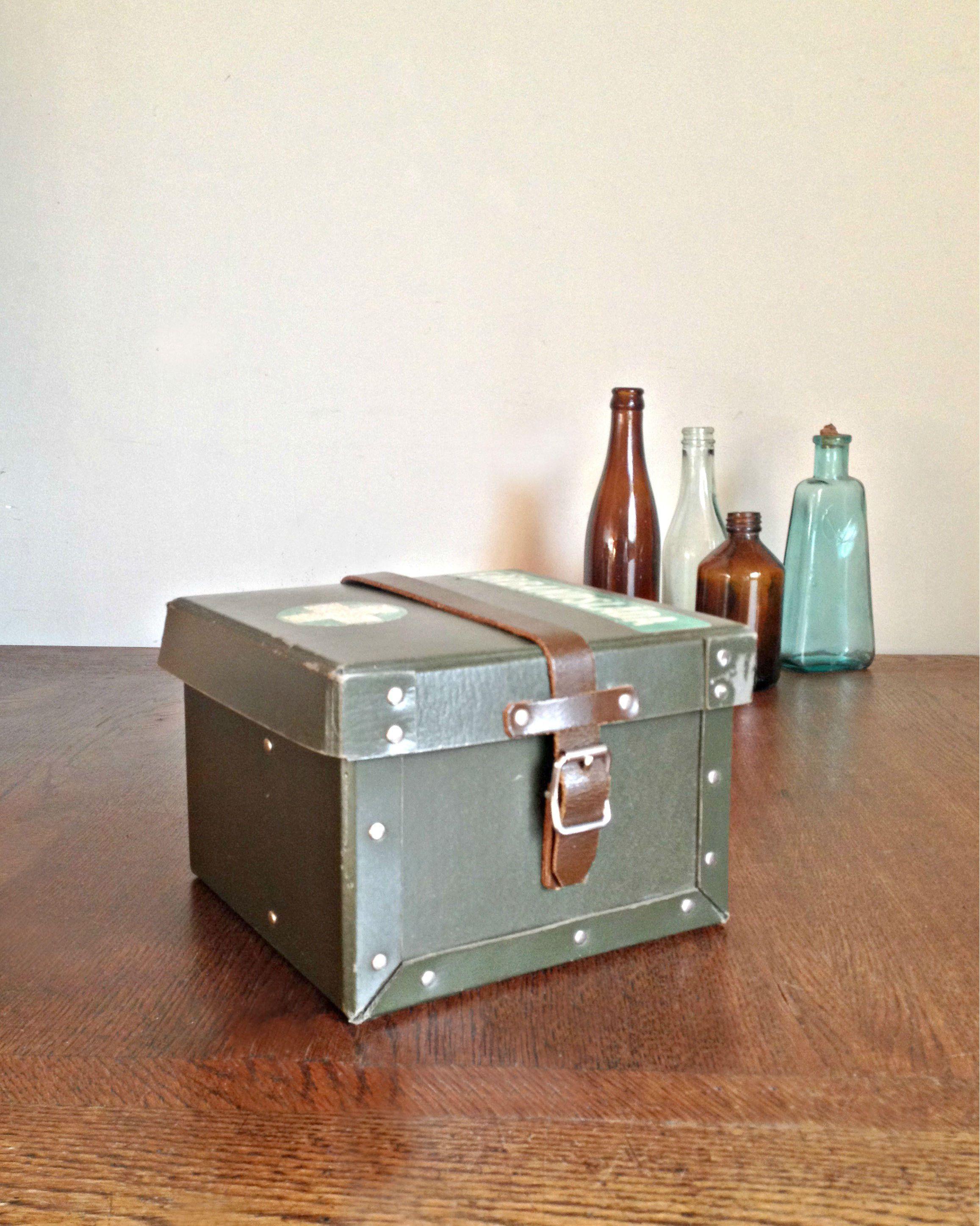 Decorative box First Aid kit box Storage box Vintage box