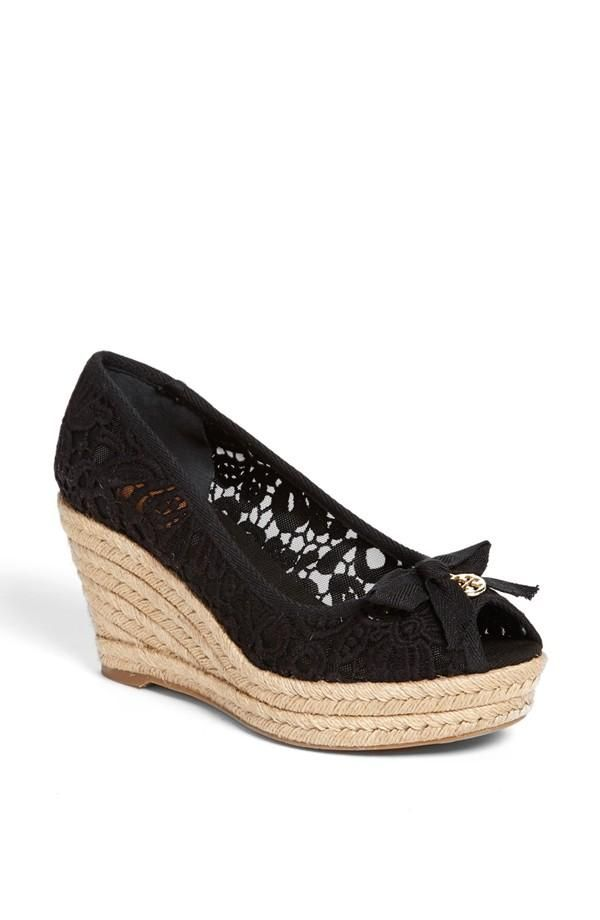 3d7d8647a Gorgeous black lace wedge espadrille by Tory Burch. | Women's ...