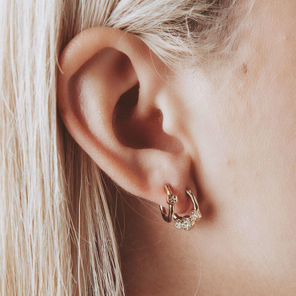 Full Bloom Hoop Earring Set Rose Gold  Luv Aj