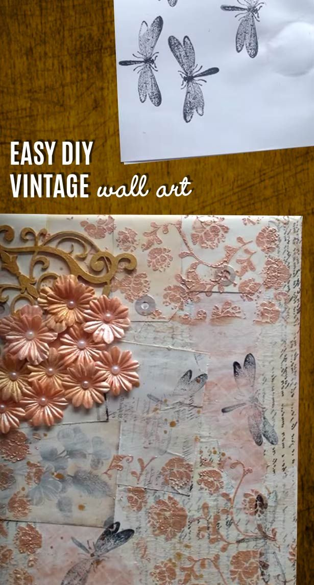 Vintage wall art made easy diy mixed media canvas vintage easy wall art ideas for rustic decor country crafts projects i love for romantic diy solutioingenieria Images