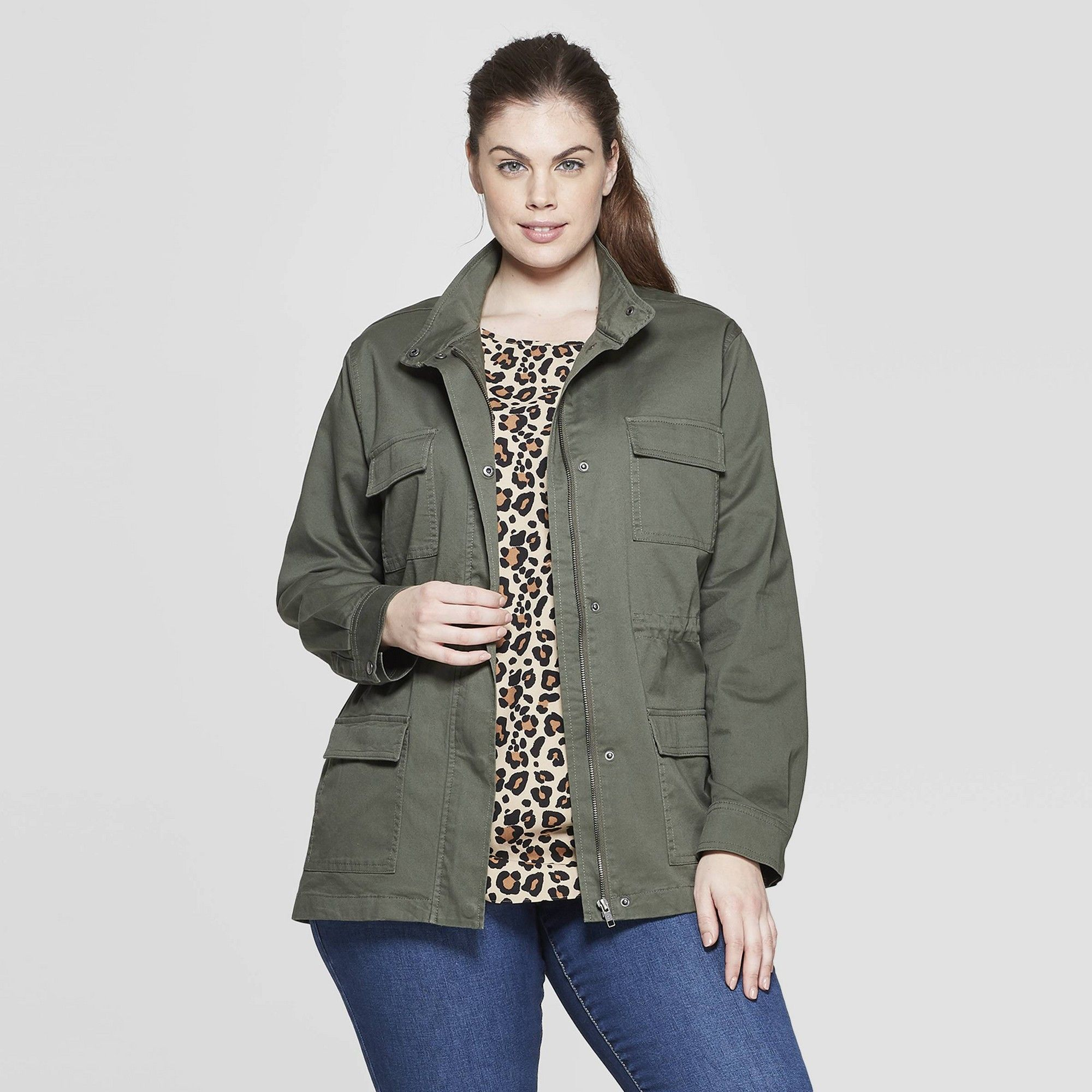 023b4f223d8993 Women s Plus Size Military Jacket - Ava   Viv Olive (Green) 3X in ...