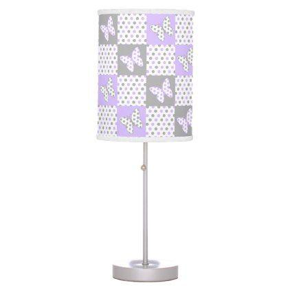 Purple Lavender Gray Grey Butterfly Polka Dot Girl Table