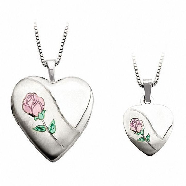 Zales Mother and Daughter Matching Hand Print Heart Locket and Pendant Set in Sterling Silver yMNLw7T0
