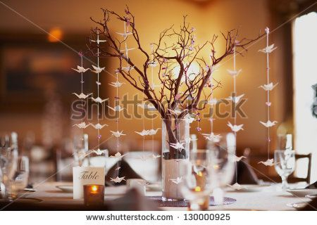 Wedding table setting with nature theme of bonsai tree and origami wedding table setting with nature theme of bonsai tree and origami birds junglespirit Images