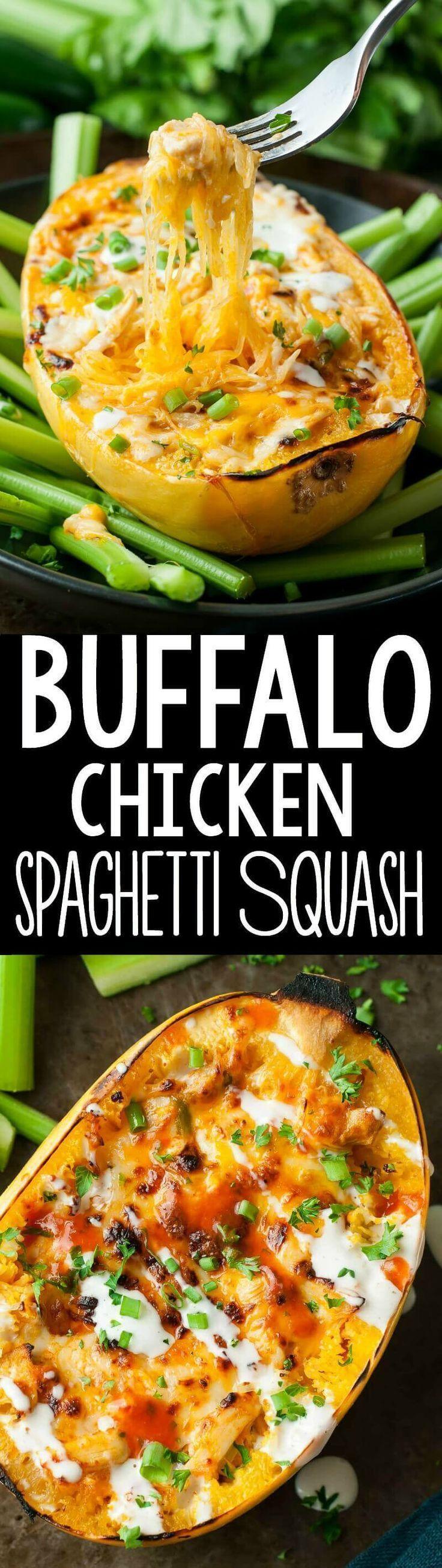 Cheesy Buffalo Chicken Spaghetti Squash Bowls Recipe Food Recipes Healthy Recipes Chicken