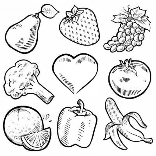 Fruits and vegetables nine healthy vegetables for for Coloring pages fruits and vegetables