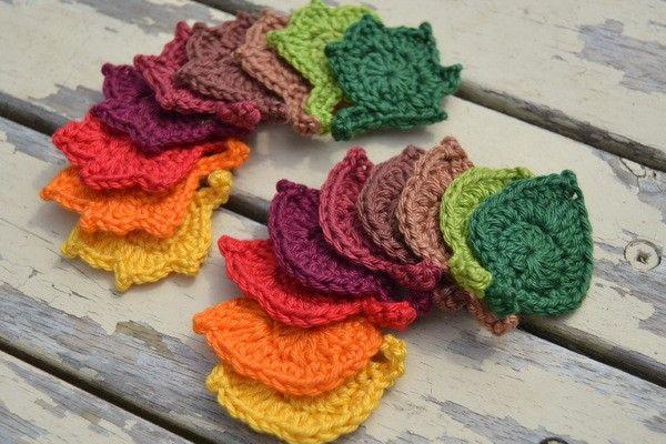 2 Mini Herbstblätter, schnell gehäkelt, Applikation,   # Da Wanda ...