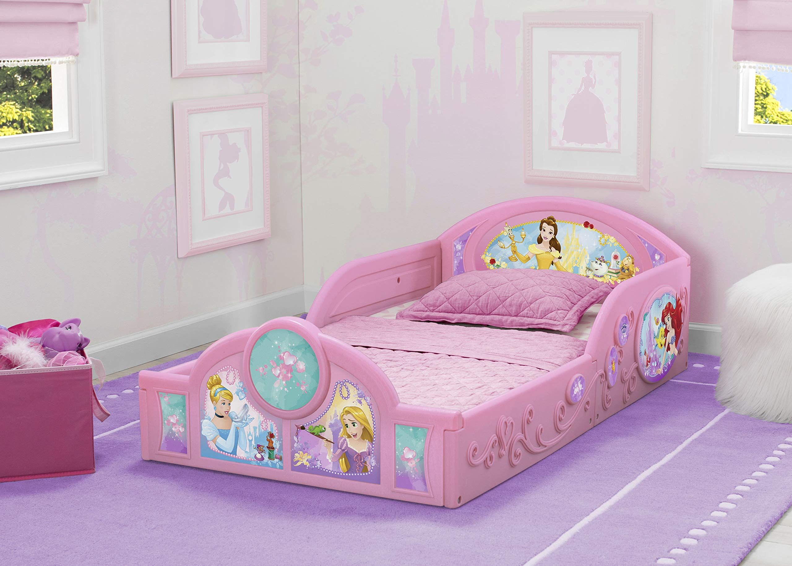 Delta Children Princess Sleep And Play Toddler Bed With Attached Guardrails Features Colorful Graphics Of Ci Princess Toddler Bed Toddler Bed Girl Toddler Bed