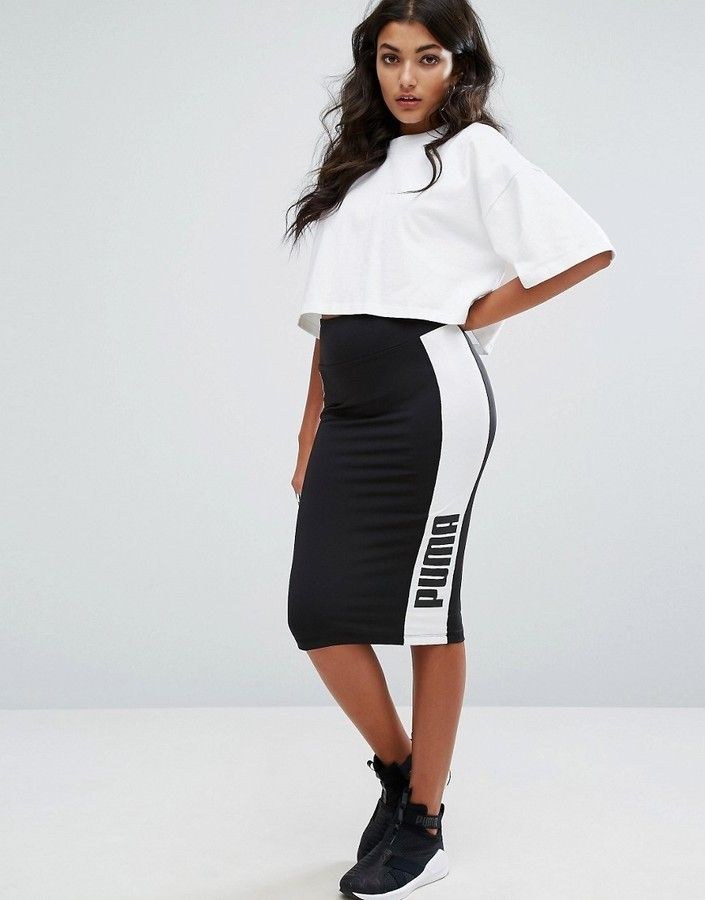 40e067f7f Puma Contrast Side Pencil Skirt In Black | Adidas | Ropa deportiva ...