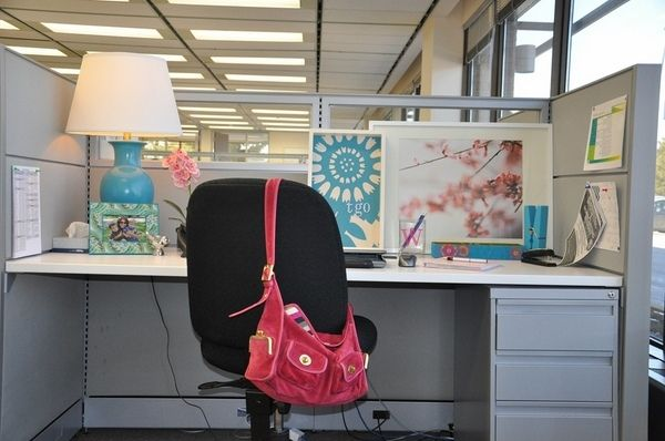 How To Decorate Office Cubicle Ideas Framed Photos Table Lamp DIY Office  Decoration