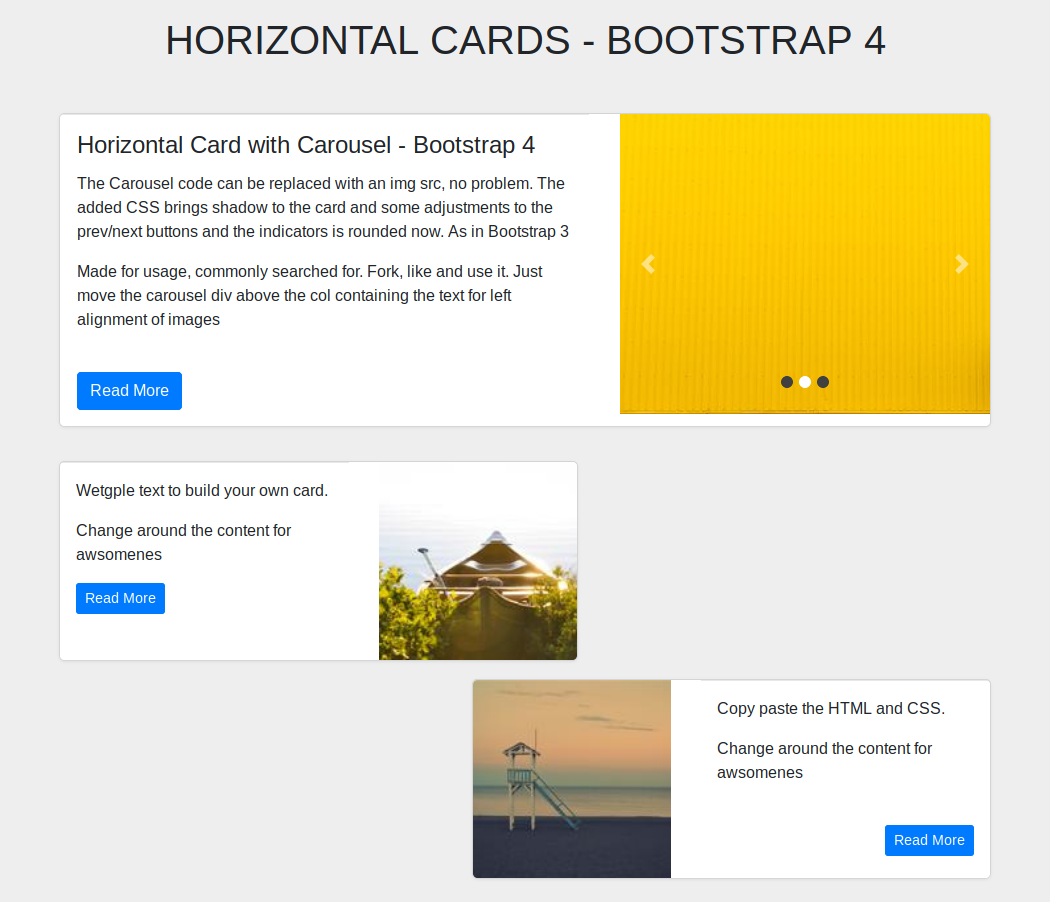 Horizontal Cards Bootstrap 4 Cards Horizontal Coding