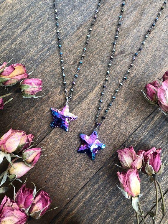 STAR DUST Quartz Necklace ~ Anita Apothecary, Rainbow Aura Crystal, Aura Necklace, Witch Jewelry #quartznecklace