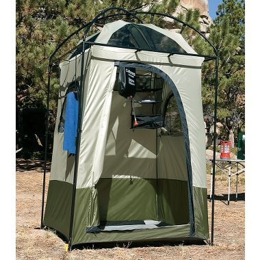 Cabela's Deluxe Shower Shelter.  I want one of these for primitive tent camping.