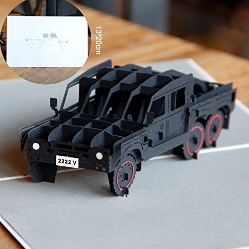 Paper Spiritz Jeeps 3D Pop up Greeting Card Postcard Matching Envelope Laser Cut Handmade Happy New Year Birthday Post Card Spring Festival Valentines Day GiftPack of 1 >>> Click image for more details.