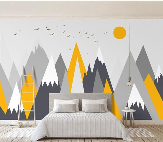 Simple Triangle Geometric Mountains Wallpaper , Modern Geometric Mountains with Flying Birds and Sun #remodelingorroomdesign