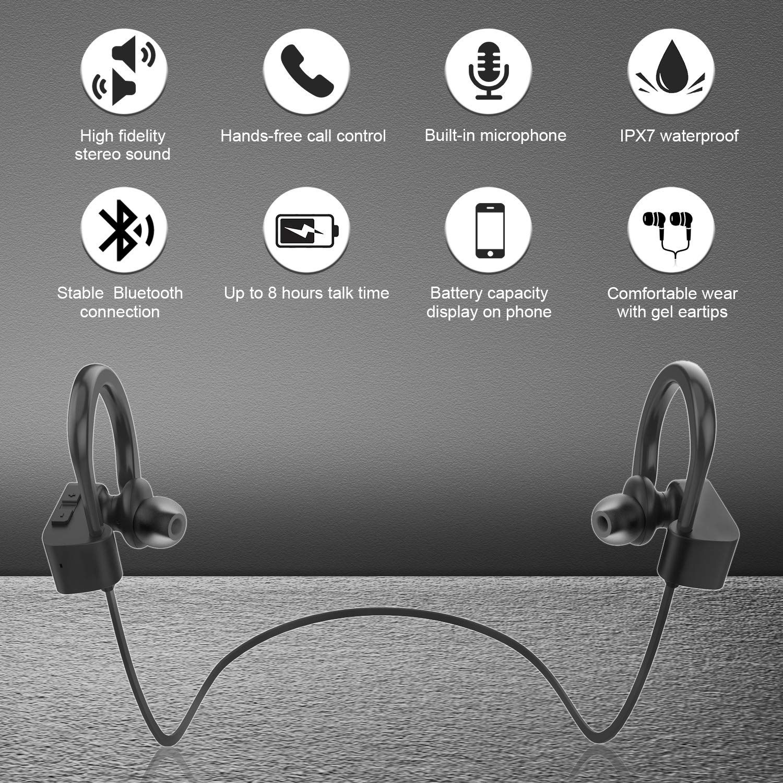 Bluetooth headphones ipx7 waterproof wireless