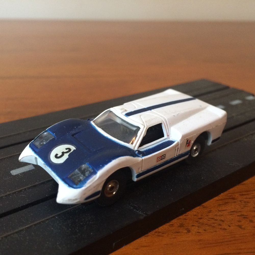 Vintage Aurora Afx Ford J Car 3 Ho Slot Car Blue White Aurora