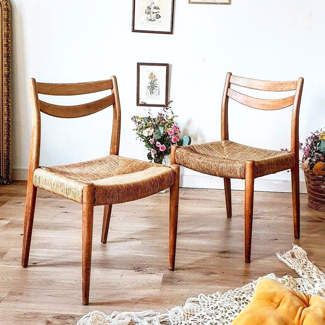 Chaises Vintage Design Scandinave 1960 Style O Moller Chaise Vintage Chaise Paille Meuble De Metier