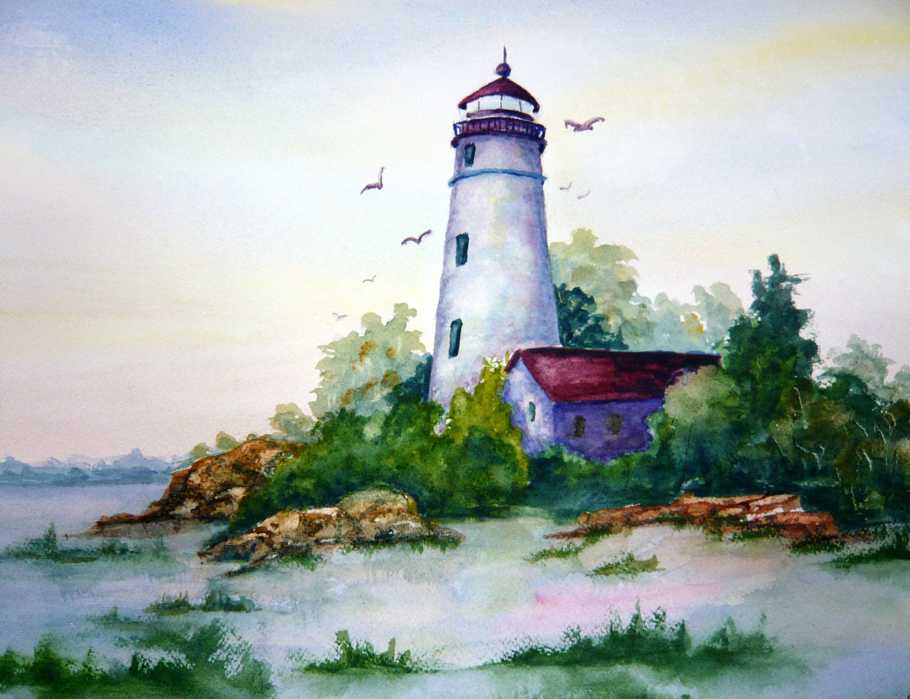 Watercolor paintings of lighthouses livin 39 is easy for Watercolor painting for beginners step by step