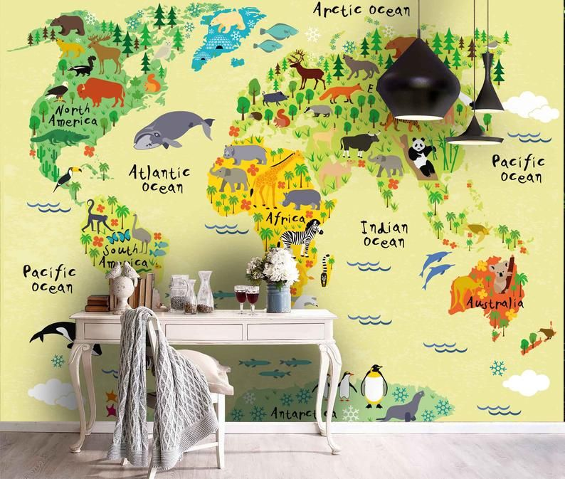 World map wood wallpaper, texture vintage, ecological, old