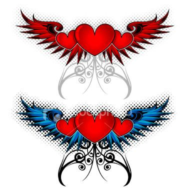 heart with angel wings tattoo designs half angel demon