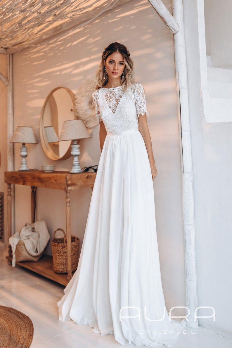 Wedding Dress Roni Rustic Wedding Dress With Etsy In 2020 Lace Wedding Dress With Sleeves Rustic Wedding Dresses Wedding Dresses