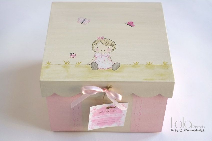 Cajitas Para Bautizo Nino.Caja De Madera Para Bebes Nina Pintura Cajas De Madera