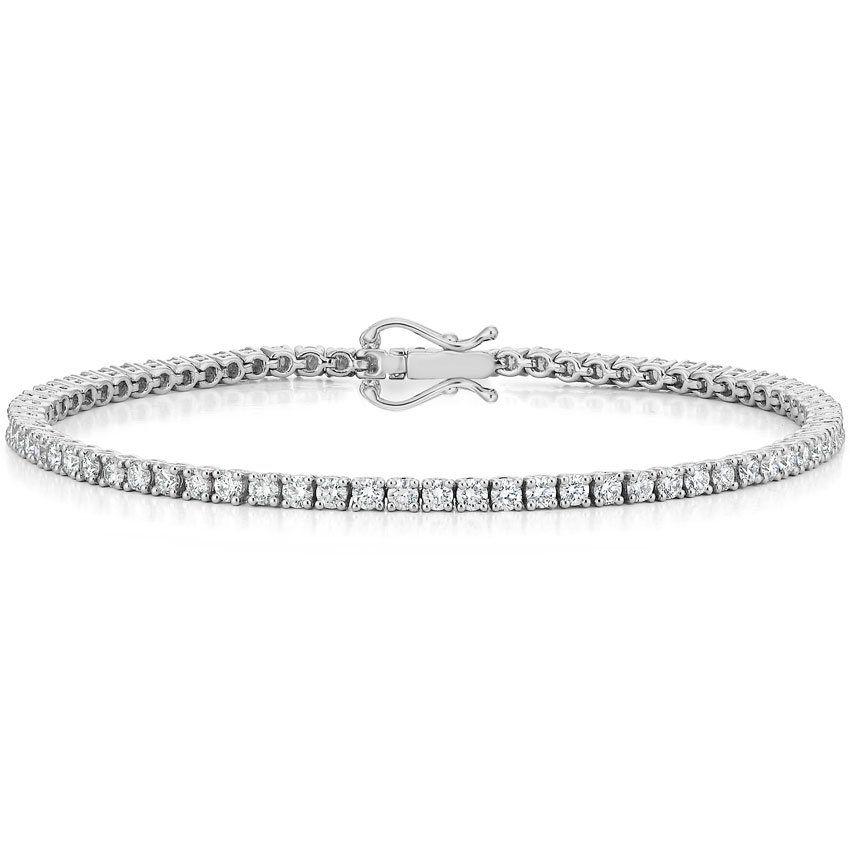 Certified Lab Created Diamond Tennis Bracelet 18k White Gold Setting Price Swarovski Bracelet White Gold Studs White Gold