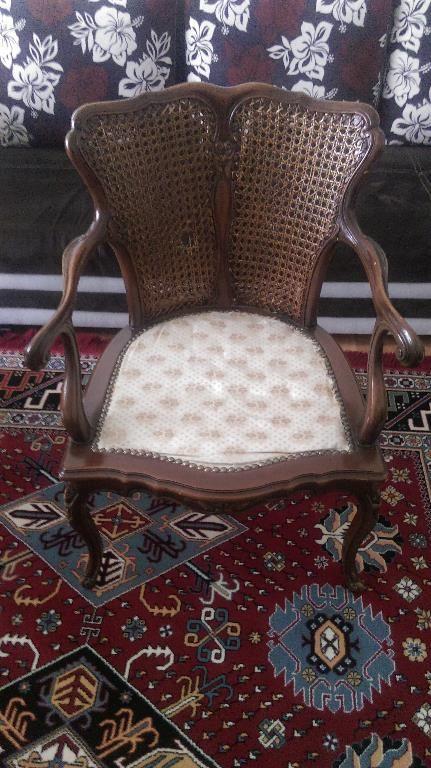 Kahverengi 2 Adet Eski Antika Hasır Desenli Sandalye - Dekopasaj.Com - dekopasaj.com