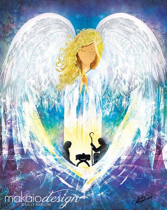 Christmas Nativity Angel Painting Mixed Media Art by