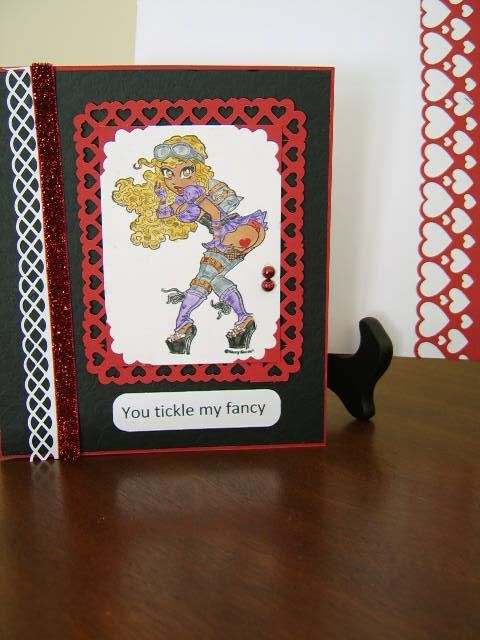 Valentine's Day card Using Martha Stewart deep edge and border punches. Whismy stamp Jayne Jettpack