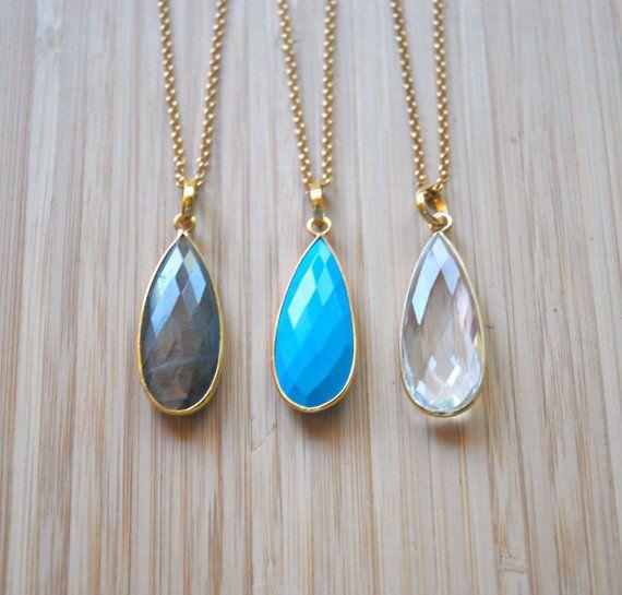 Gemstone necklace large gem teardrop turquoise by crashandduchess