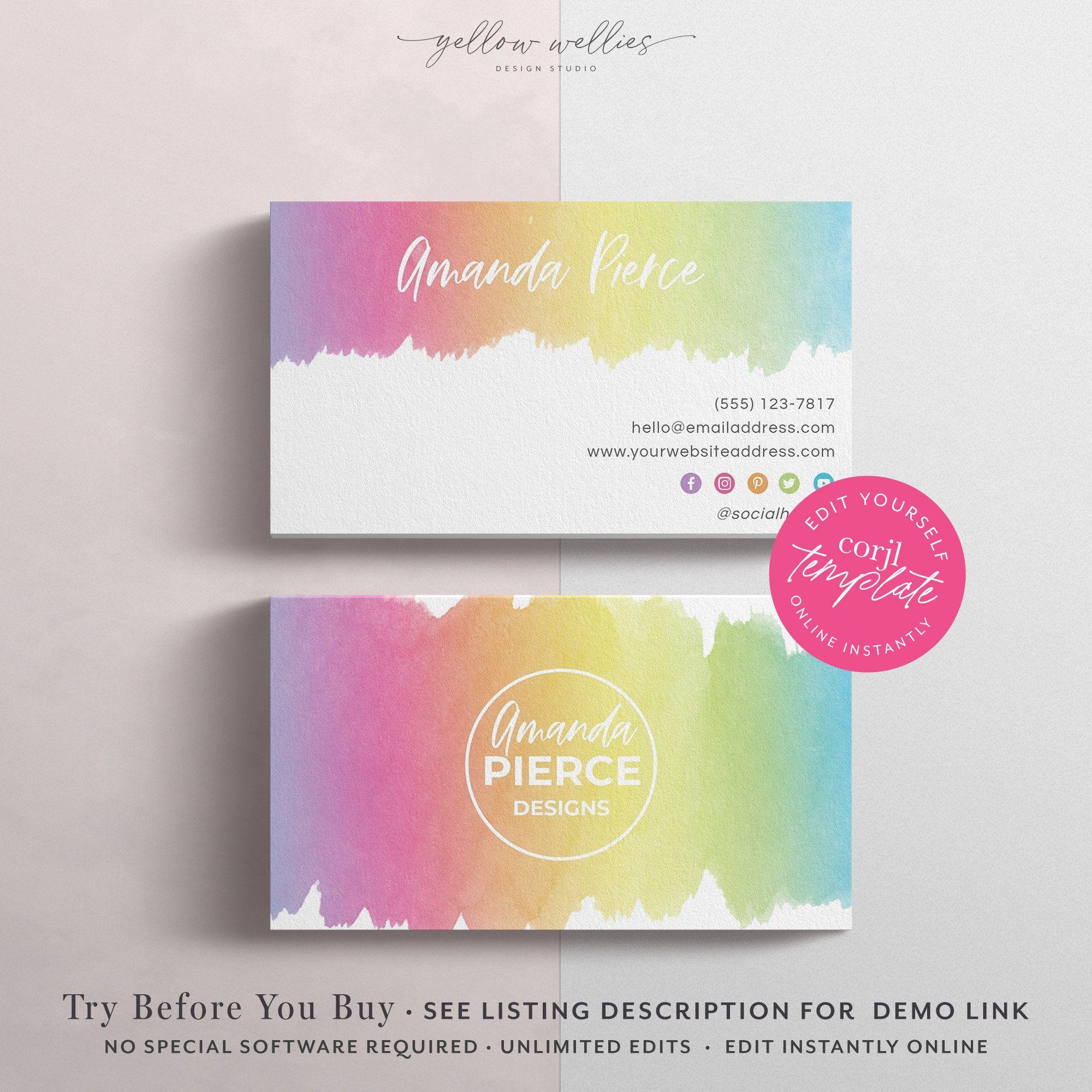 Corjl Editable Business Card Template Rainbow Watercolor Etsy Rainbow Business Card Printable Cards Business Card Template
