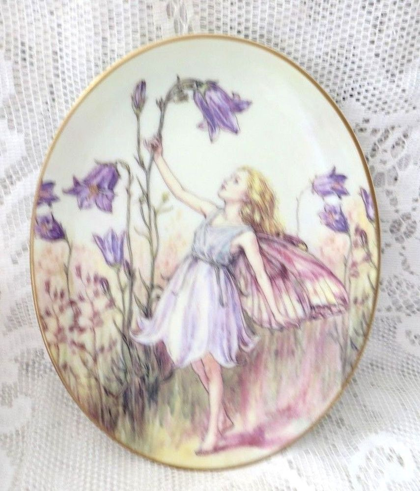 Royal Worcester Flower Fairies Oval Plate The Harebell Fairy 75th Anniversary Flower Fairies Plates Oval Plates