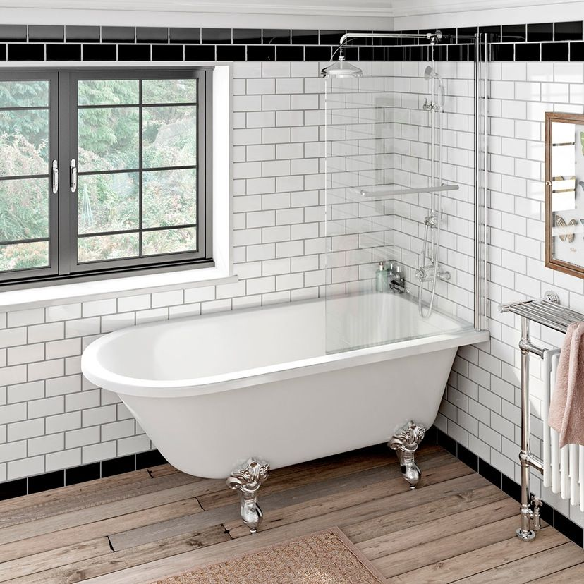Shakespeare Freestanding Shower Bath And Screen With Rail