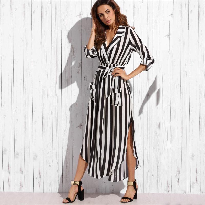 11a2c2a62b7c Striped Belted Maxi Shirt Dress