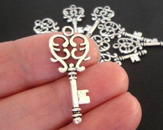 Key Charm  Silver Key Pendant  Filigree Heart Key by BijiBijoux