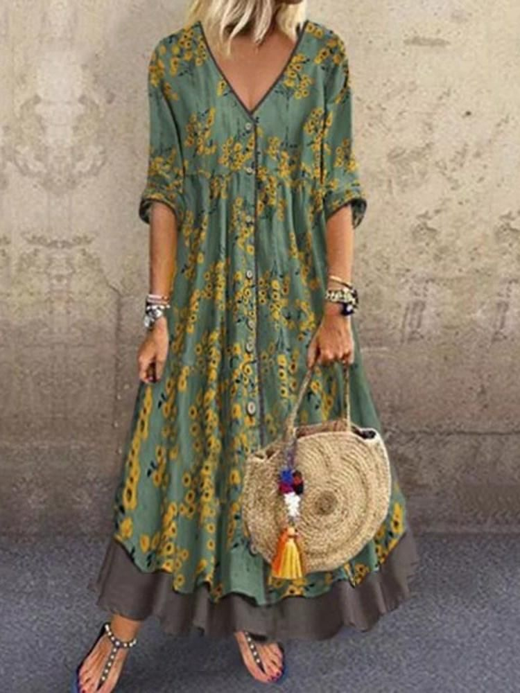 V-Neck Ankle-Length Three-Quarter Sleeve A-Line Single-Breasted Dress
