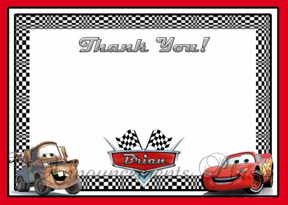 Cars Invitation Card Template Free: 4x6 Cars Thank You Card By Announcements Plus, $8.00