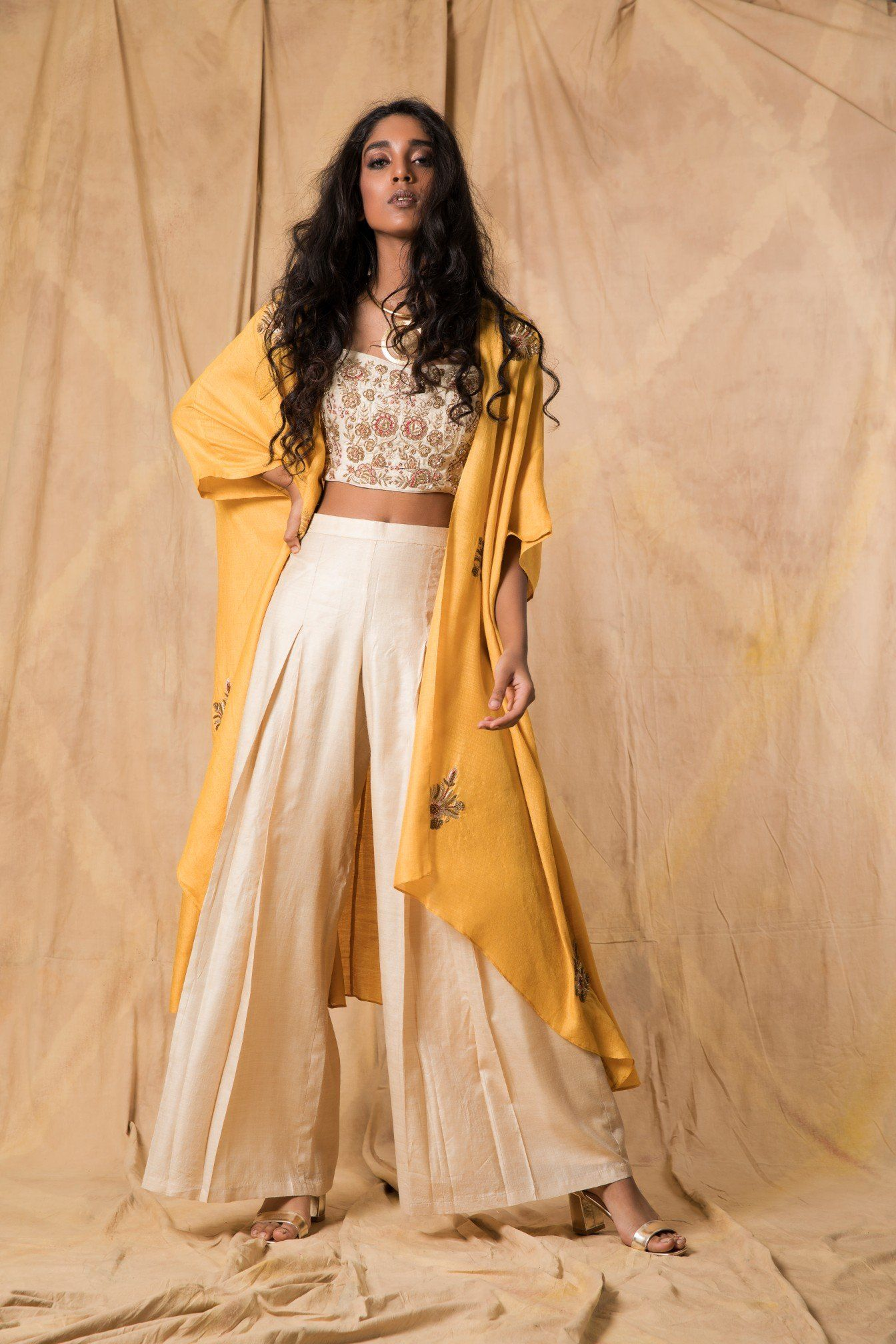 Ivory & Mustard Tussar Cape with Palazzo | Outfits ...