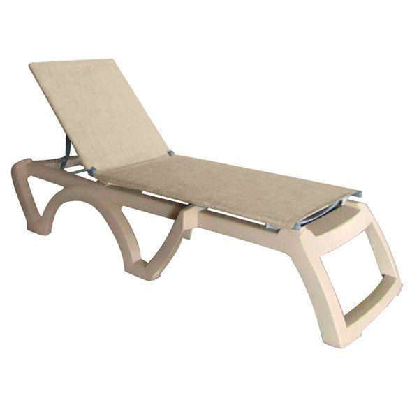 Grosfillex Us120066 Jamaica Beach Sandstone Calypso Adjustable Chaise Lounge With Straw Sling Seat 2 Case In 2020 Outdoor Lounge Jamaica Outdoor Furniture